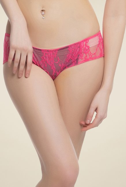 Clovia Pink Lacy Brief