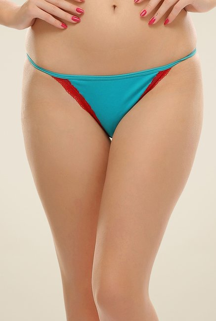 Clovia Blue & Red Lace Bikini Panty
