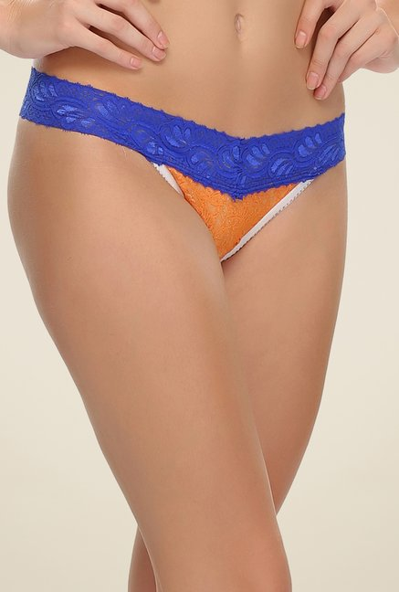 Clovia Orange & Blue Lace Thong Panty