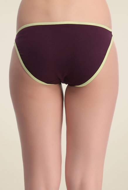 Clovia Purple & Mint Cotton Lycra Bikini Panty