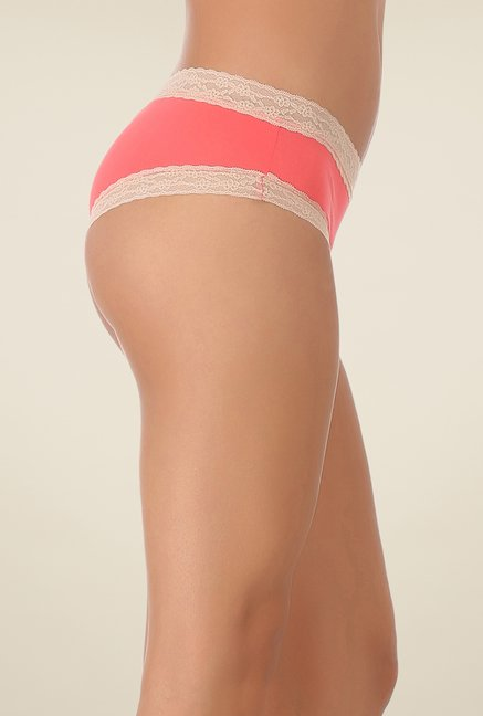 Clovia Coral & Beige Lacy Hipster Panty