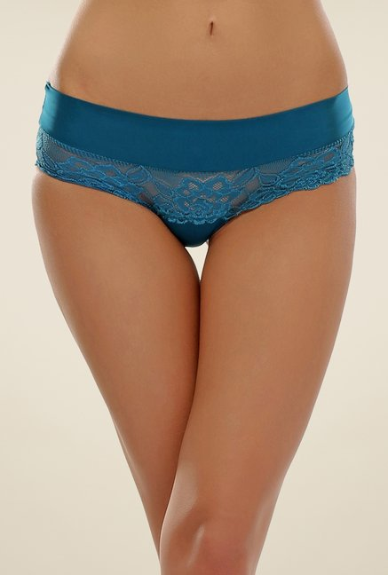 Clovia Teal Green Floral Lace Brief