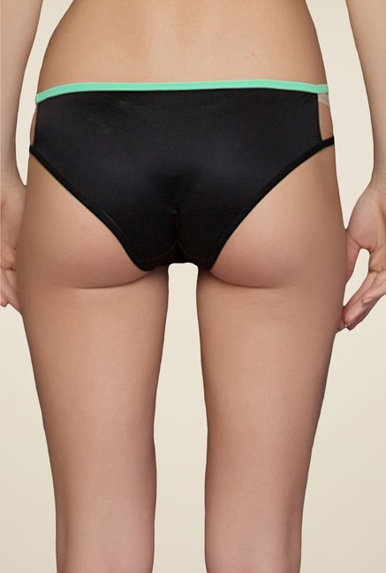 Clovia Black & Sea Green Solid Bikini Panty