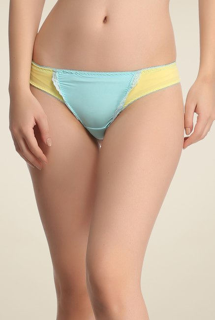 Clovia Light Blue & Yellow Solid Thong Panty