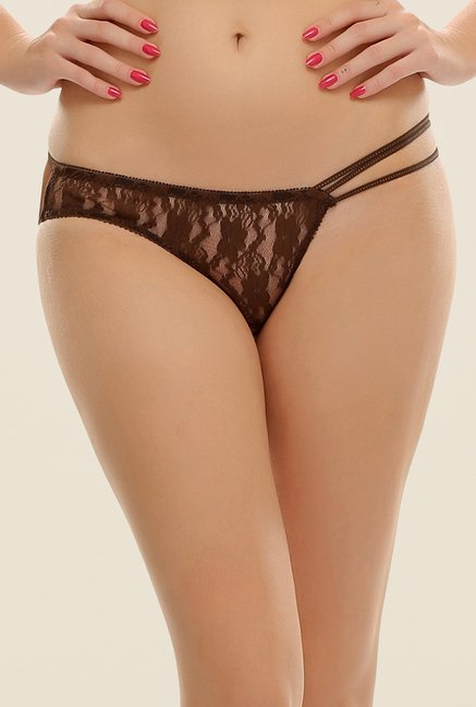 Clovia Brown Sheer Lacy Bikini Panty