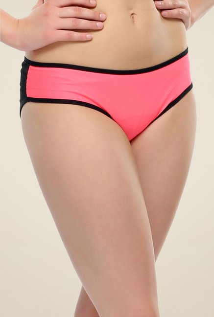 Clovia Pink & Black Trendy Brief