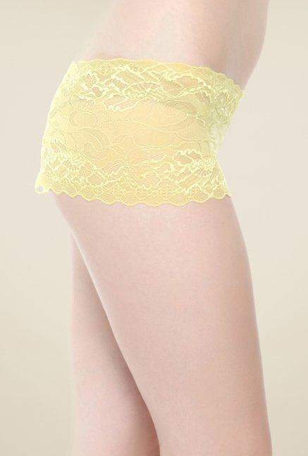 Clovia Yellow Lace Hipster Panty