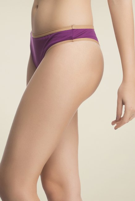 Clovia Purple & Orange Solid Panty
