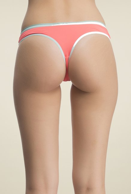Clovia Orange & Blue Solid Thong Panty