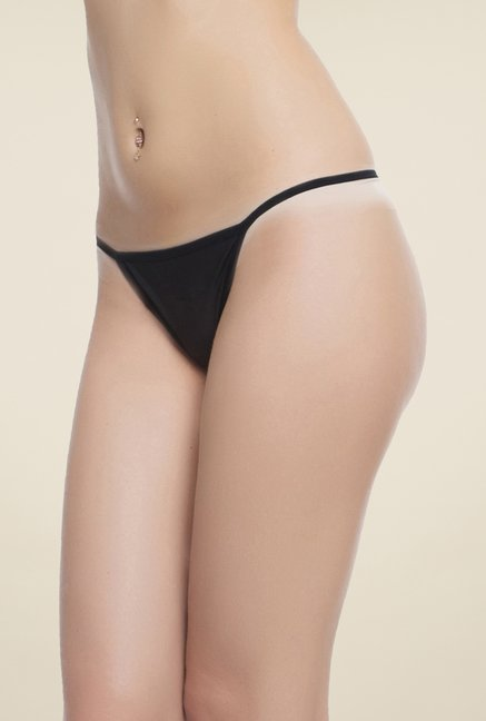 Clovia Black Cotton Thong Panty