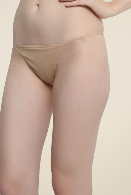 Clovia Beige Cotton Thong Panty