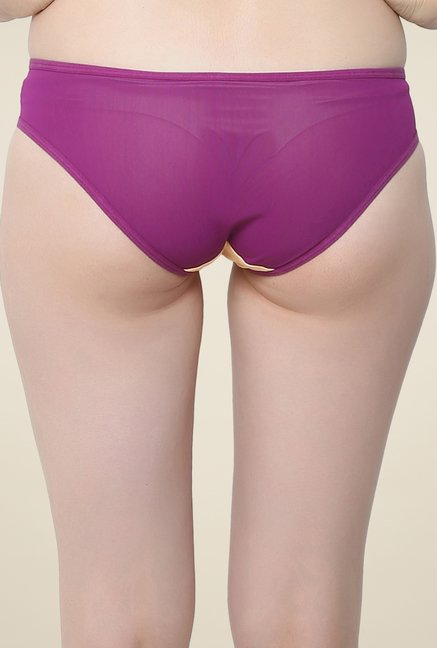 Clovia Orange & Purple Sheer Bikini Panty