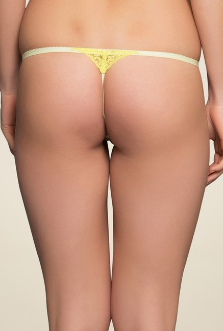 Clovia Yellow Lace Thong Panty