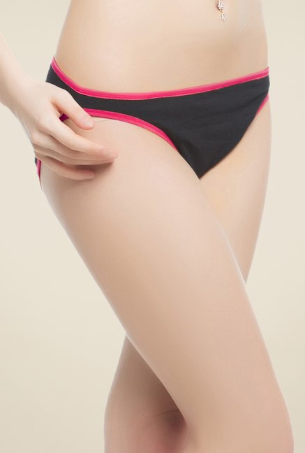Clovia Black & Pink Cotton Brief