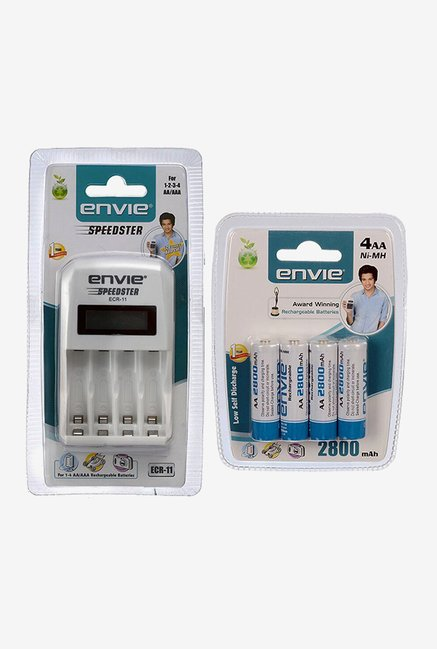 Envie ECR-11 Charger with 4xAA 2800 mAh Battery (White)