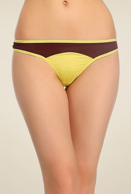 Clovia Yellow & Brown Solid Thong Panty