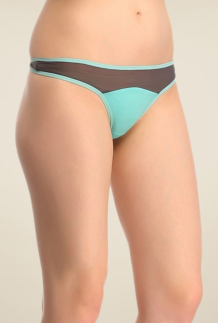 Clovia Blue & Brown Solid Thong Panty