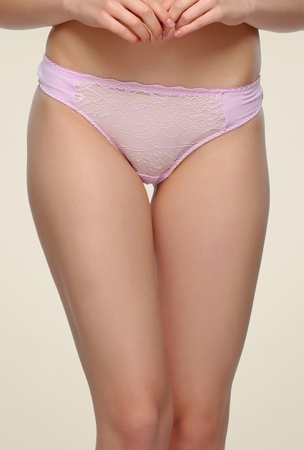 Clovia Baby Pink Lacy Thong Panty