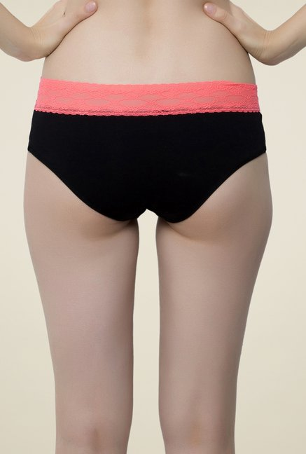 Clovia Black & Orange Lace Hipster Panty