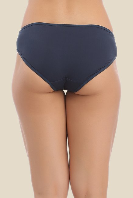Clovia Navy & Green Solid Hipster Panty