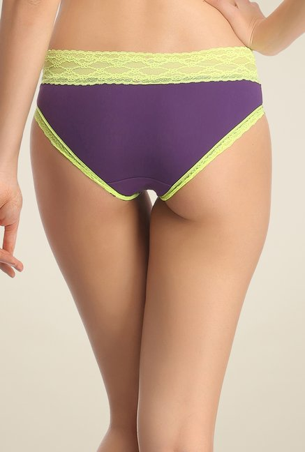 Clovia Purple & Green Lace Hipster Panty