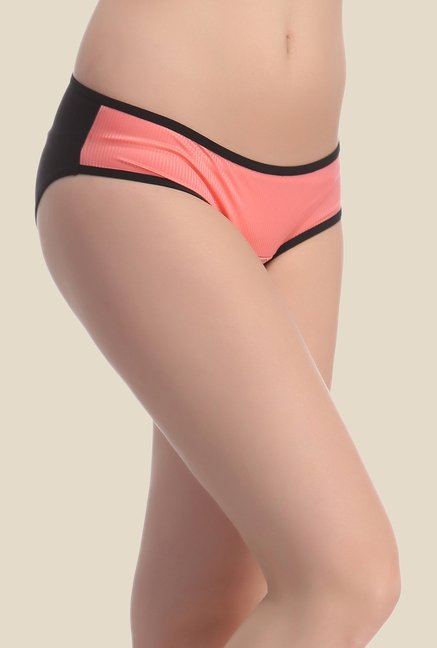 Clovia Black & Orange Solid Bikini Panty