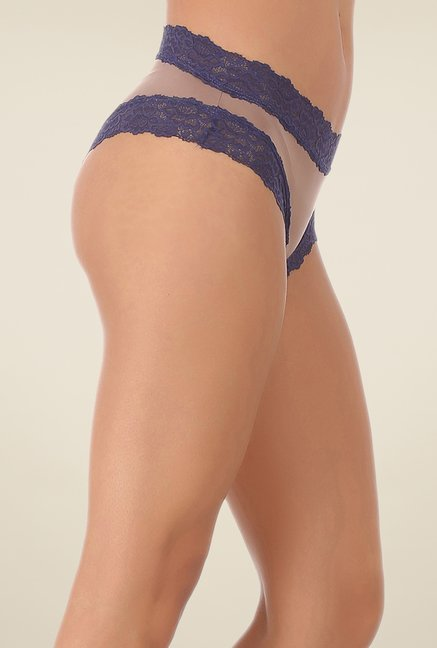 Clovia Brown & Navy Lace Hipster Panty