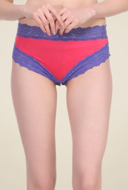 Clovia Red & Blue Lace Hipster Panty