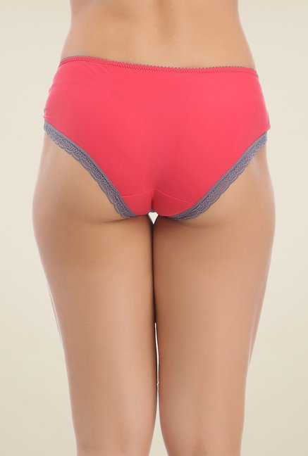 Clovia Grey & Red Lace Hipster Panty