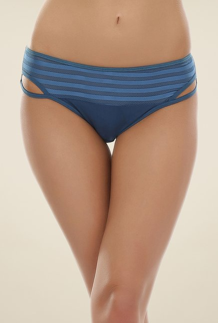 Clovia Blue Striped Bikini Panty