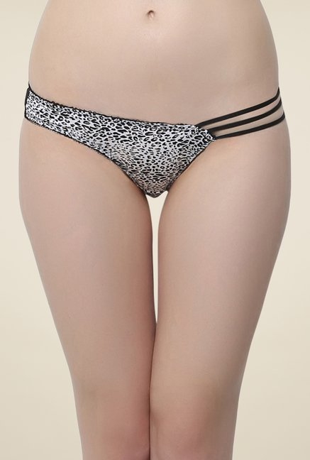Clovia Black Animal Print Bikini Panty