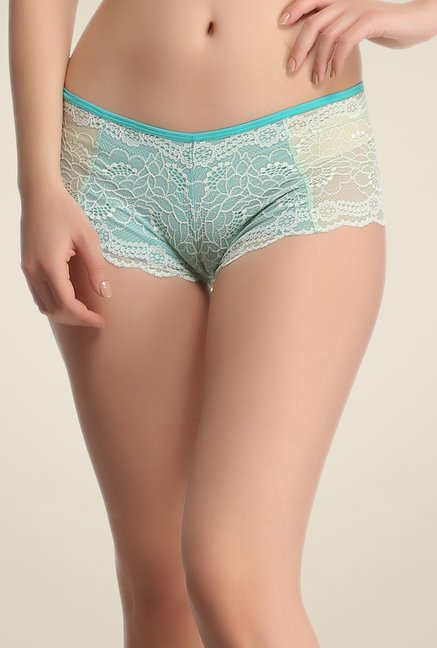 Clovia Turquoise Lace Hipster Panty
