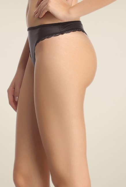 Clovia Black Solid Thong Panty