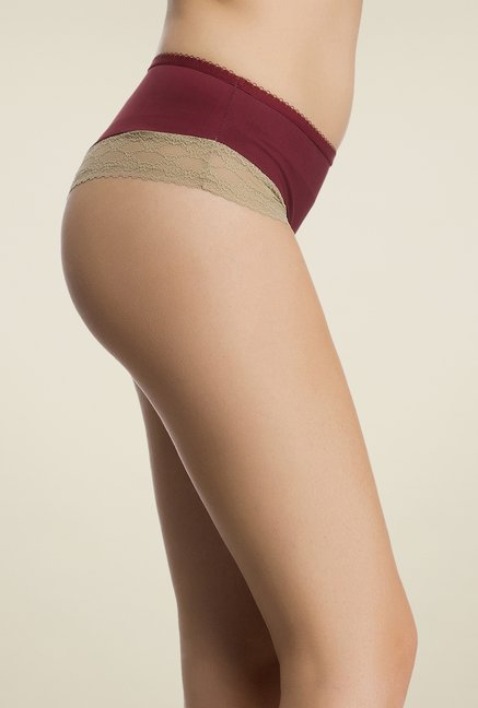 Clovia Maroon & Beige Lace Thong Panty