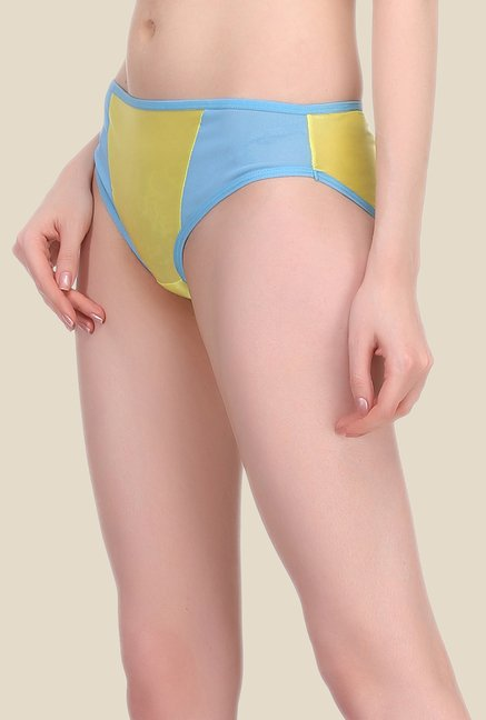 Clovia Yellow & Blue Solid Hipster Panty