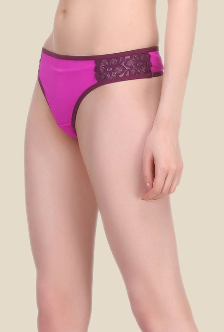 Clovia Pink & Purple Solid Hipster Panty