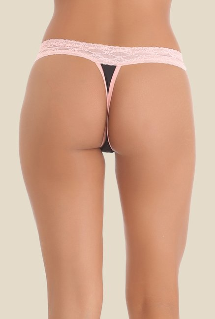 Clovia Black & Peach Lace Thong Panty