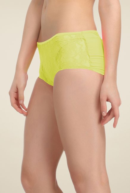 Clovia Yellow Lace Boyshort Panty