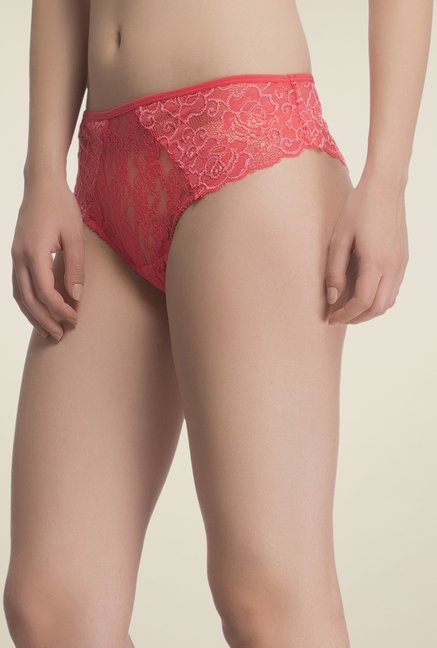 Clovia Red Lacy Hipster Panty