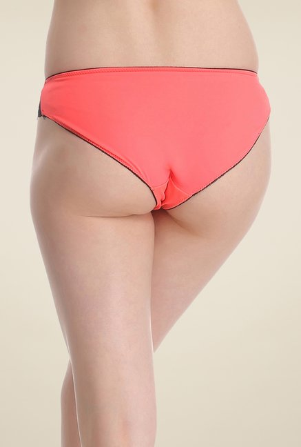 Clovia Orange & Black Lace Bikini Panty
