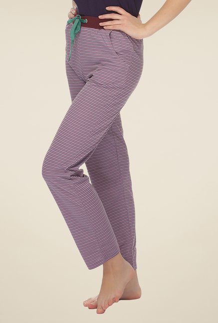 Clovia Purple Striped Pyjama