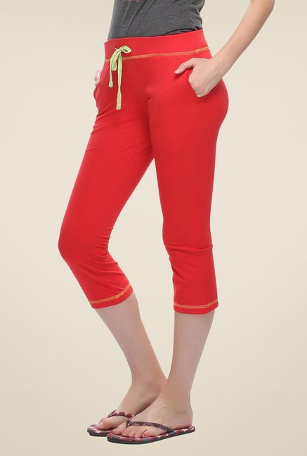 Clovia Red Solid Capris