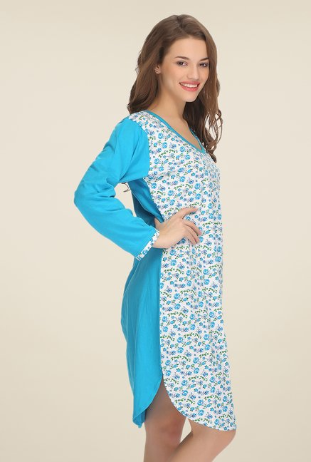 Clovia Blue & White Floral Print Nightdress