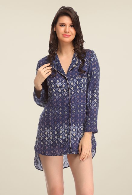 Clovia Navy Printed Night Shirt