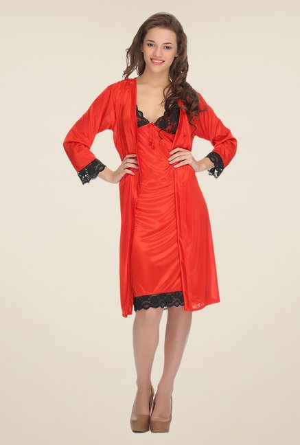 Clovia Red Solid Nightdress & Robe Set