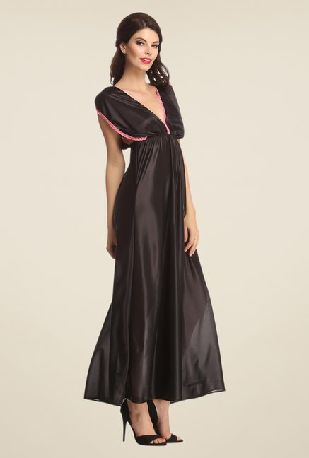 Clovia Black Solid Night Gown