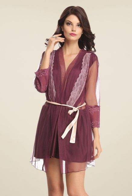 Clovia Purple Lace Robe