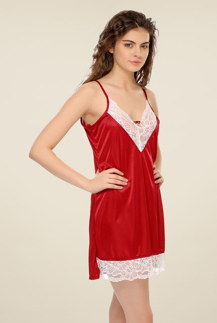 Clovia Red Lace Babydoll