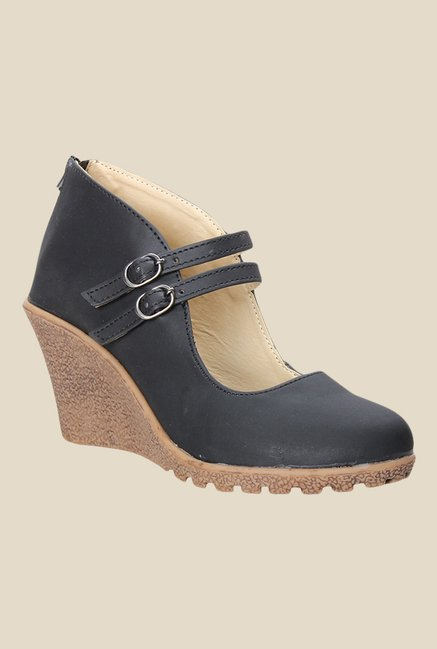 Cobbler's Thread Black Mary Jane Wedges