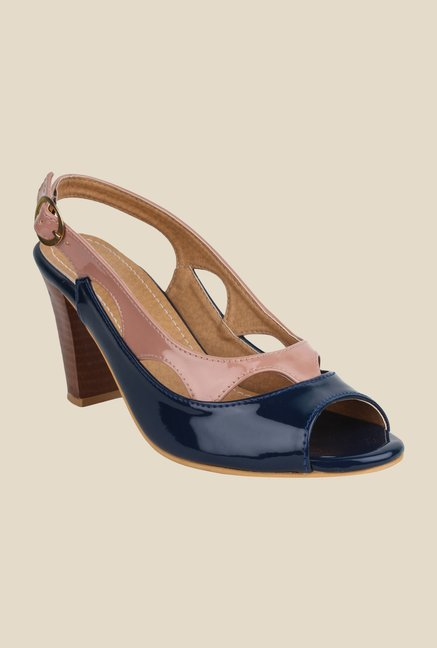 Cobbler's Thread Navy & Beige Back Strap Sandals